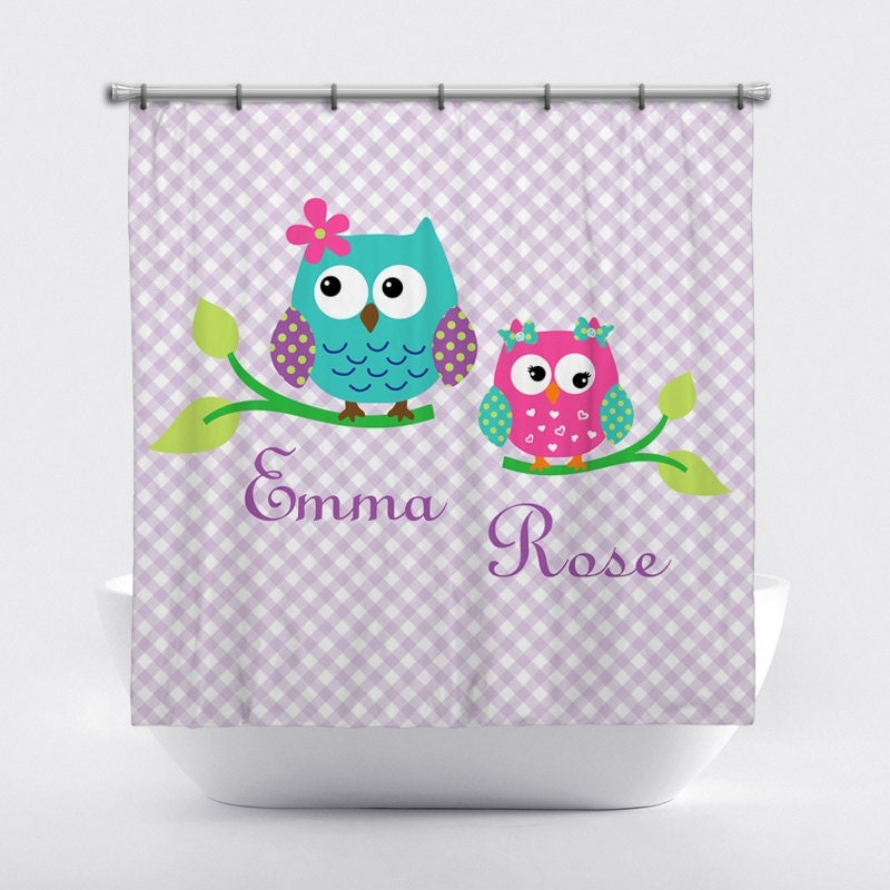 Monogrammed Shower Curtain Girl Owls Personalized Shower