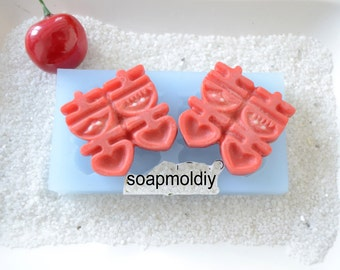2-cavity Happiness Resin Mold Soap Mold Silicone Polymer Clay mold Resin mold Clay mold Fondant Mold F0872