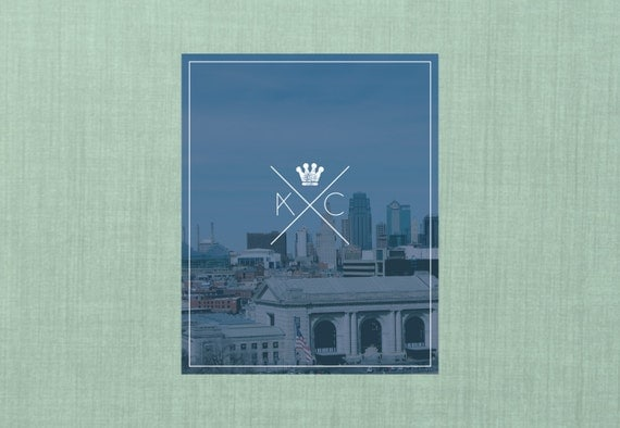 Kansas city skyline wall art 8x10 wall art print home for Home decor kansas city