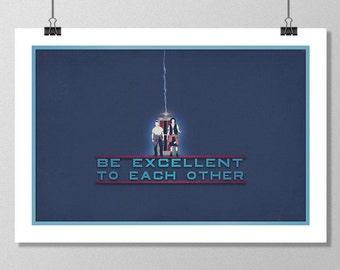 "BILL & TED Inspired Excellent Adventure Minimalist Movie Poster Print - 13""x19"" (33x48 cm)"