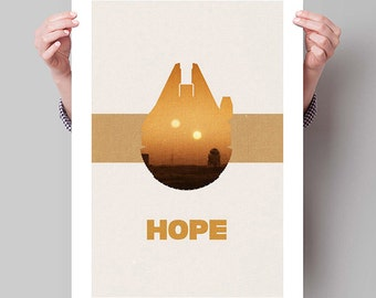 "STAR WARS Inspired Episode IV A New Hope Minimalist Movie Poster Print - 11""x17"" (28x43 cm)"