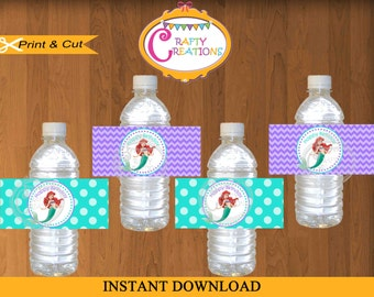 Printable Little Mermaid Water Bottle Labels - Little Mermaid labels - Ariel water bottle labels - INSTANT DOWNLOAD - CraftyCreationsUAE