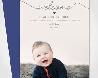Baby Announcement Card /  Boy or Girl Birth Announcement / Newborn Baby Announcement Card