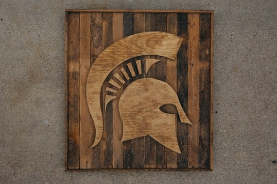 handcrafted reclaimed wood michigan state spartan - Reclaimed Wood Michigan State Spartan