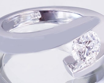 14K White Round Simulated Diamond Engagement Ring Tension Set Solitaire 1.00ctw