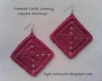 Large Framed Solid Granny Square Earrings in Country Rose - Crocheted Earrings - Crocheted Granny Square Earrings