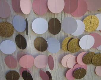 Pink, Gold, and White Paper Circles Garland,  Wedding Garland, Baby Shower Garland, Photo Prop, Bridal Shower, Shabby Chic