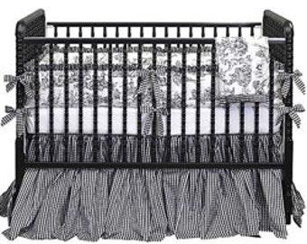 Gingham Toile Crib Bedding Set