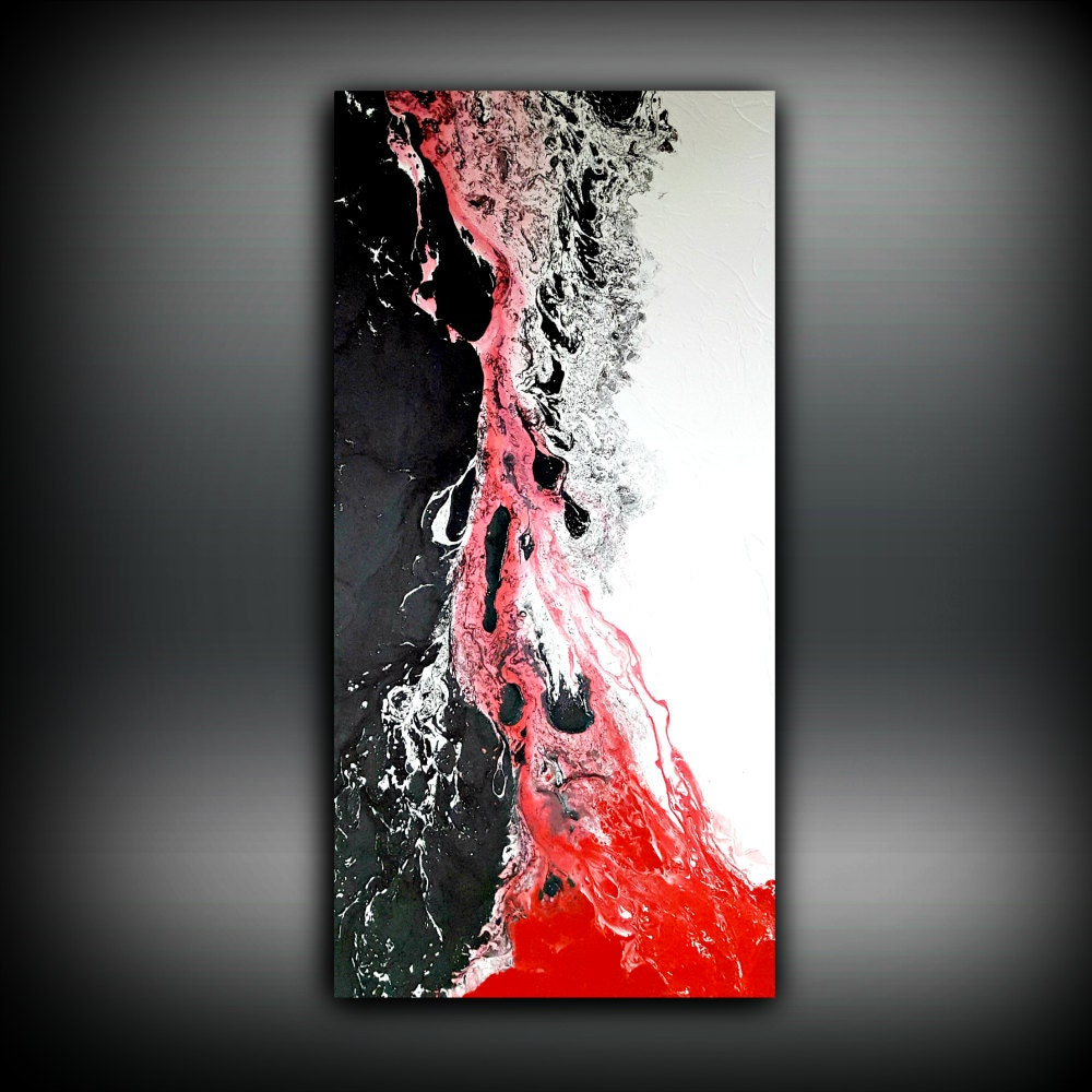 White black and red painting 24x48 abstract painting for Abstract painting on black canvas