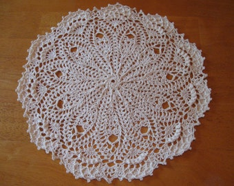 New hand-crocheted cream/off-white doily doilie