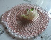 Vintage Depression Glass Waterford Cake Plate Anchor Hocking Waterford Pink Waffle Pattern Cake Plate