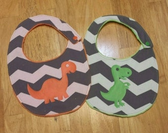 Dino chevron baby bibs, gray and white, dinosaurs, green, orange, baby shower gift