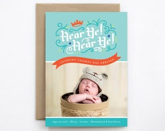 Birth Announcement Boy - Hear Ye! Hear Ye! in Sky Blue & Red-Orange