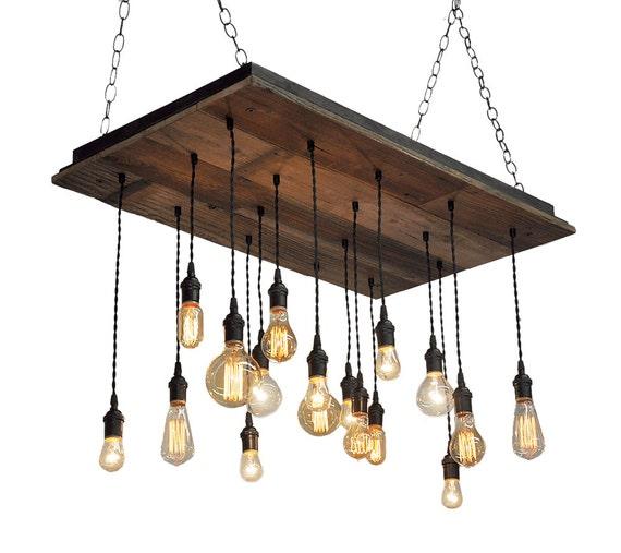 Wood Light Fixture Rustic Ceiling Light Rustic Light Unusual: Reclaimed Wood Chandelier Edison Bulb Pendants Bare Bulb