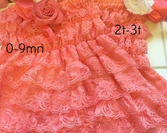 Ruffled romper dress Coral, with Headband