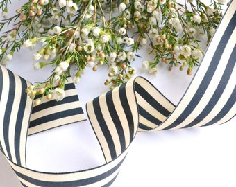 Black and Ivory Striped Whimsical Silk Ribbon  - Free Shipping