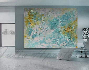XXL Painting, Contemporary Wall Art, Large Print, Minimalist Painting, Turquoise, Gold, Blue, White, Large Abstract, Canvas Print, Landscape