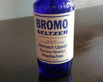 Vintage Cobalt Blue Bromo Seltzer  Glass Medicine Bottle Label Still Intact.