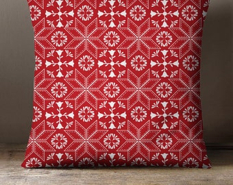 Pillow Cover or Pillow   Red & White Nordic Throw Pillow   Christmas Throw Pillow   3 fabric choices