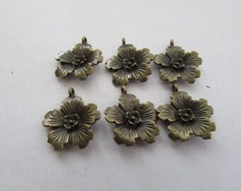 Antique Bronze Flower Charm Pendant, Charm Pendant,Antique Bronze,Flower Pendant