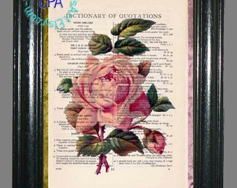 Vintage Pink Rose, Green Leaves Art - Beautifully Upcycled Vintage Dictionary Page Book Art Print, Floral Print