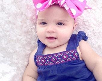 Pink polkadot head wrap, Baby's head wrap. headbands, big bows
