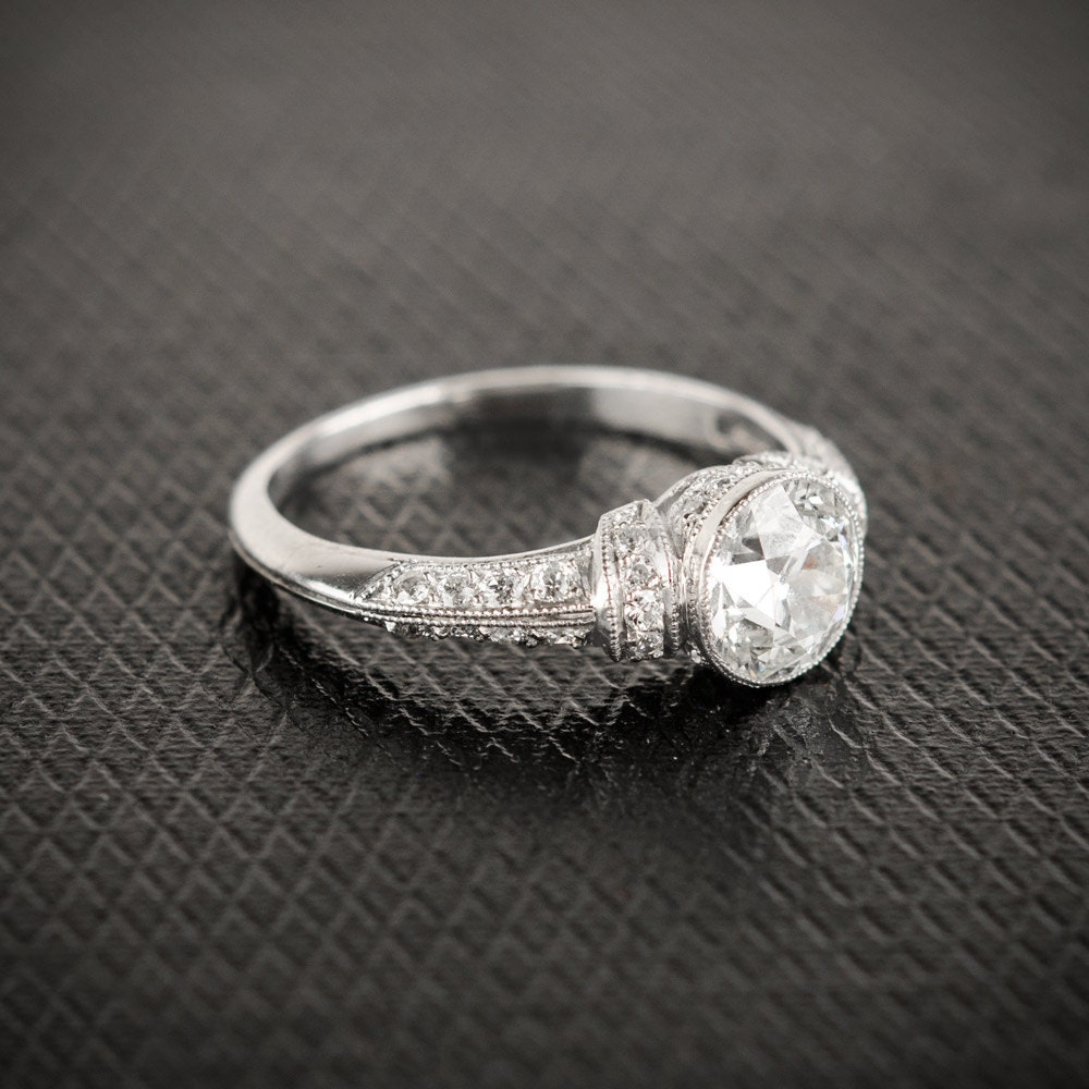 vintage style bezel engagement ring mine cut