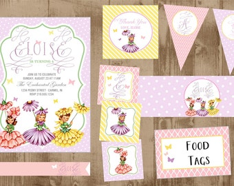 Vintage flower garden fairy printable party SET - Invite and more