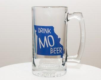 Drink MO Beer Missouri State Outline Glass Mug / Stein Navy