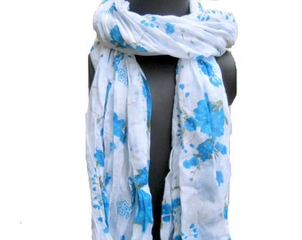 Floral print scarf/ cotton scarf/ lace scarf/ gift  scarf / white scarf/ /  gift ideas.