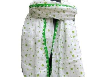 Polka dots  scarf/ cotton scarf/ green scarf/  crochet border scarf  scarf/ gift  scarf / white scarf/ /  gift ideas.