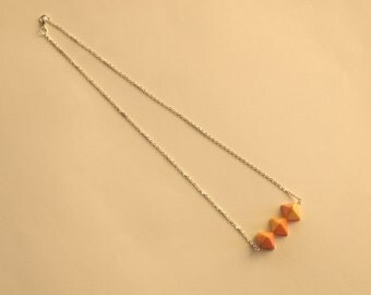 Origami geometric charms short necklace three tones