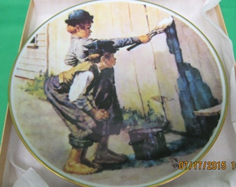 """Crown Bavaria Norman Rockwell Collector Plate -- """"Whitewashing"""""""