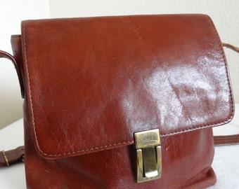 Vintage 'Texier' Leather Handbag / Satchel - Made In France - Long Strap!!
