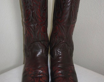 Vintage 'Texas' Burgundy Leather Cowboy Boots Made In USA