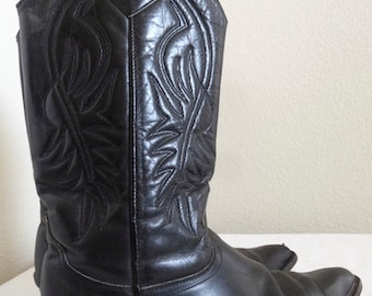 Vintage 1980's Black Leather 'Guess' Cowboy Boots By George Marciano - UK Size 6.5