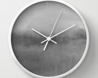 "Grey Wall Clock Ombre 10"" Clock Abstract Art Modern Home Decor White Black Natural"