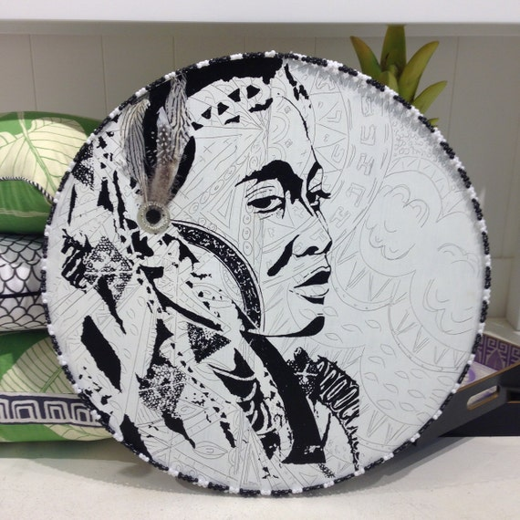 Round Wall Art Black and WhiteTimber Porthole with African Tribal Design / Wakulu the Warrior Woman