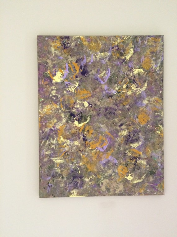 Abstract large art butterfly painting purple yellow by for Purple and yellow painting