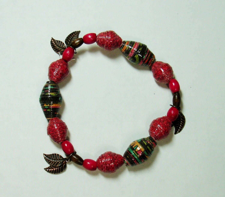 Paper Bead Bracelet Handmade Jewelry Fall Dark Tones Leaves