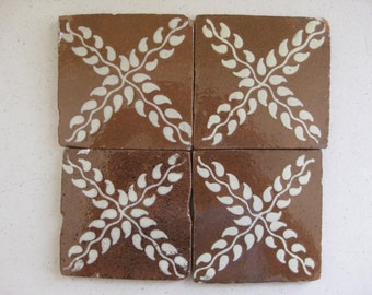 """25-T65 Talavera """"Primitive"""" Tile in Chocolate & White 4x4 (Shipping Included)"""
