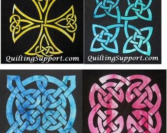 Easy Celtic Knot 4 Block Set Quilt Applique Patterns Designs (set 2)