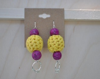 Unique Jewelry - Earrings - Yellow and Fuchsia