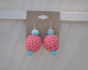 Jewlery - Crochet Earrings - Beaded Jewelry - Peach and Blue