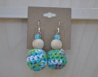 Crochet Earrings - Beaded Jewlery - Blue, Green, Grey and White