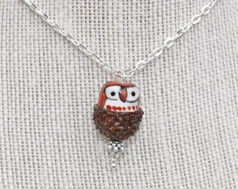 Silver Jewelry - Acorn Necklace - Owl