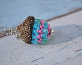 Acorn Necklace - Silver Necklace - Green, Pink and Blue - Crochet Jewelry