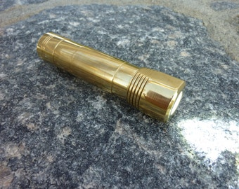 Solid BRASS High-Powered LED Torch Flashlight - Rechargeable 18650 EDC - Alloy Lights A1.8