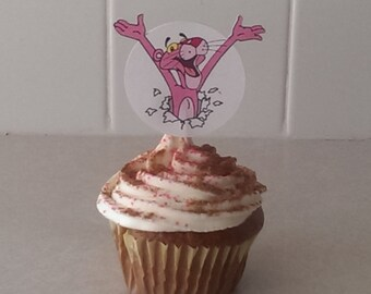 12 Pink Panther inspiried Cupcake Toppers, Party Picks, Pink Cupcake, Panther Cupcakes, Theme Birthday Decor, Shower, Celebration.
