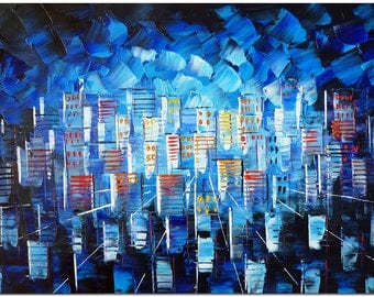 City is Shining - Signed Hand Painted Palette Knife Abstract Cityscape Oil Painting On Canvas